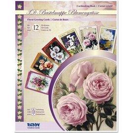 3-D Kaartenpakket bloemen 12 kaarten per set