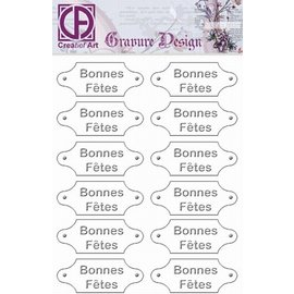"Diepdruk labels ""Bonnes Fetes"" 24 labels"