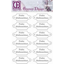 "Diepdruk labels ""Frohe Weihnachten"" 24 labels"