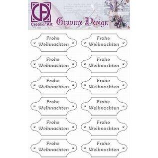 """Diepdruk labels """"Frohe Weihnachten"""" 24 labels"""