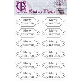 "Diepdruk labels ""Merry Christmas"" 12 labels"