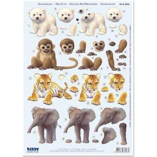 Dierenbaby´s: ijsbeer, aap, ijger en olifant