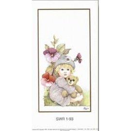 Creatief Art Pakket 6st SWR1-93  Kind met beer in bloementuil