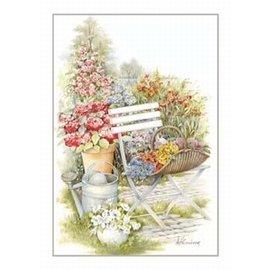 Creatief Art Pakket 6x SWR2-5030  stoel met gieter en bloemen