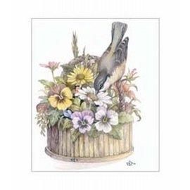 Creatief Art Pakket 6x SWR6-0035 vogel in bloemenmandje