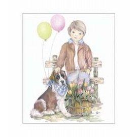 Creatief Art Pakket 6x SWR6-0036 Korf met bloemen en vogel