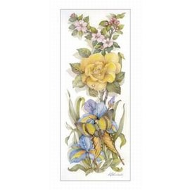 Creatief Art Pakket 6x SWR8-0002 Gele roos met vlinder