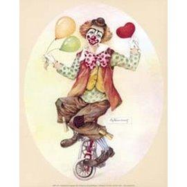 Creatief Art Pakket 6x SWR9-07  clown op fiets ovaal