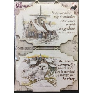 Creatief Art Windmühle und Eule Holzschildchen