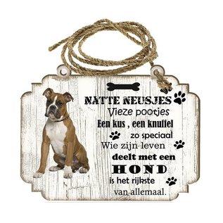 Hondenbordje:   Boxer bruin