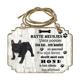 Hondenbordje: Buldog zwart