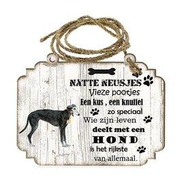 Hondenbordje: windhond zwart