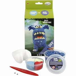 Creativ Company Set ugly monsters blauw foam clay