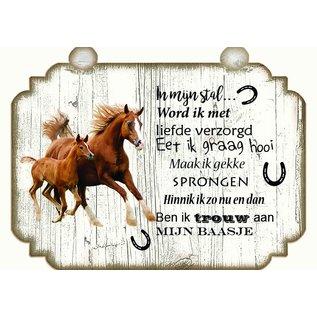 Pferdeplatte: Braun mit Weiß - Copy