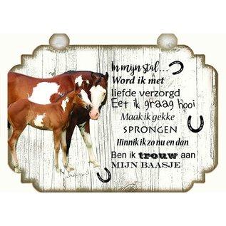 Paardenbordje: Merrie met veulen bruin en wit