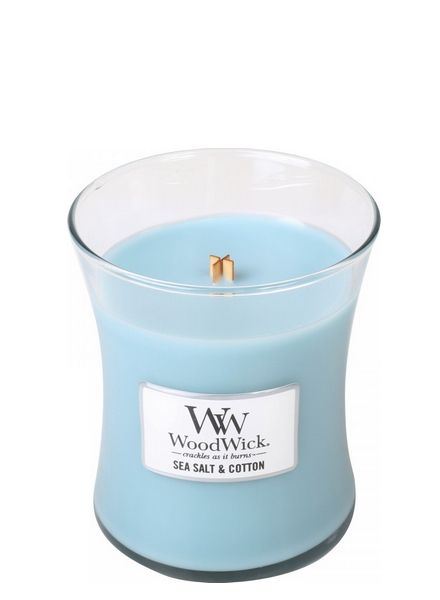 Woodwick WoodWick Sea Salt & Cotton Medium Candle