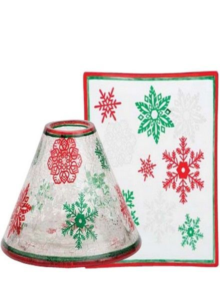 Yankee Candle Red & Green Snowflake Large Shade and Tray