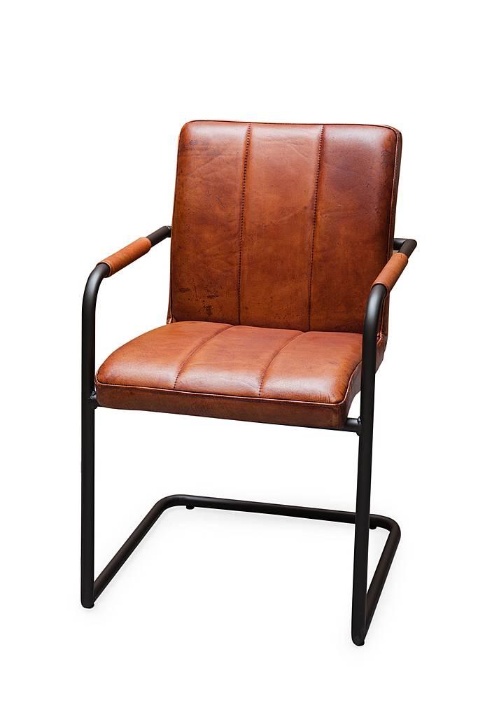 Buffel leren stoel ohio afgerond frame gratis bezorgd for Leren stoel