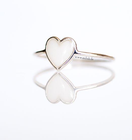 Miluh Manufaktur Herz Ring 925 Sterling Silber