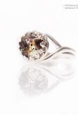 Miluh Manufaktur Nabelschnurstein Krone Ring rund Sterling Silber 8mm*