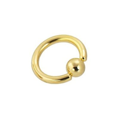 18K Gold Plated Ball Closure Ring - XL