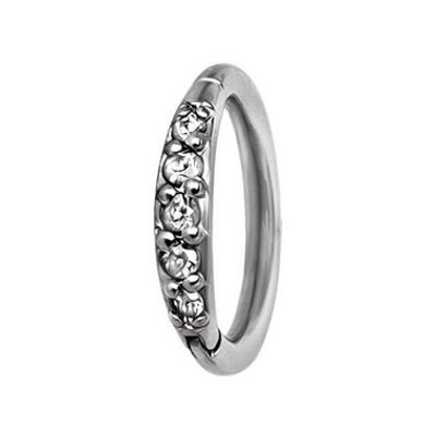 Surgical Steel Click Ring Crystals