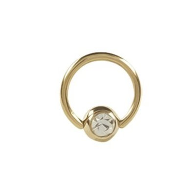 18K Gold Plated Ball Closure Ring Crystal