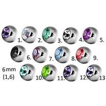 Piercing Balletje - Kristalletje 6mm