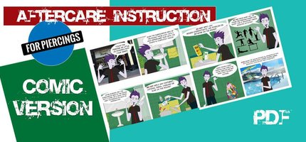 Comic version of AfterCare instruction for Piercings
