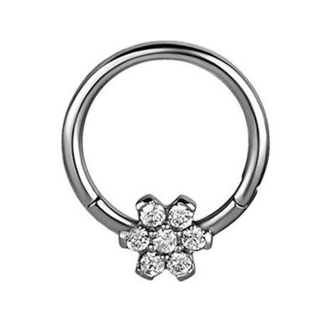 Crystal Evolution Surgical Steel Click Ring - Swarovski Flower