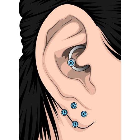 Crystal Evolution Chirurgisch Stalen Click Ring - Swarovski Bloemetje