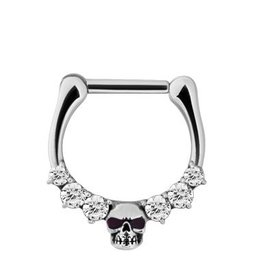 Septum Click Ring - Crystals & Skull