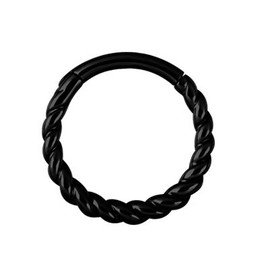 Zwart Chirurgisch Staal Ring - Twisted Touw