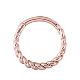 Rose Gold Plated Piercing Ring - Twisted Rope