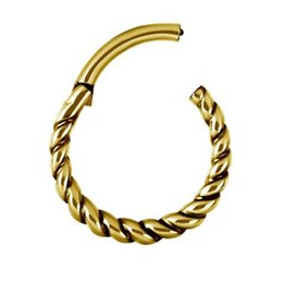 Vergulde Piercing Ring - Twisted Touw