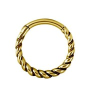 Gold Plated Piercing Ring - Twisted Rope