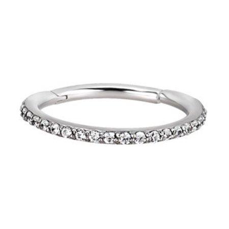 Zwart/Chirurgisch Staal Conch Ring - Swarovski Elements