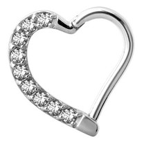 Piercing Ring -  Swarovski Elements Heart