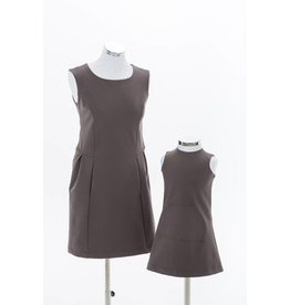 Studio Mini-Me Moeder-dochter set Grijze jurk met zwarte rits