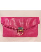 Leather foldover clutch bamboo