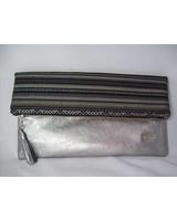 Tribal foldover clutch silver black