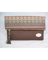 Tribal foldover clutch brown