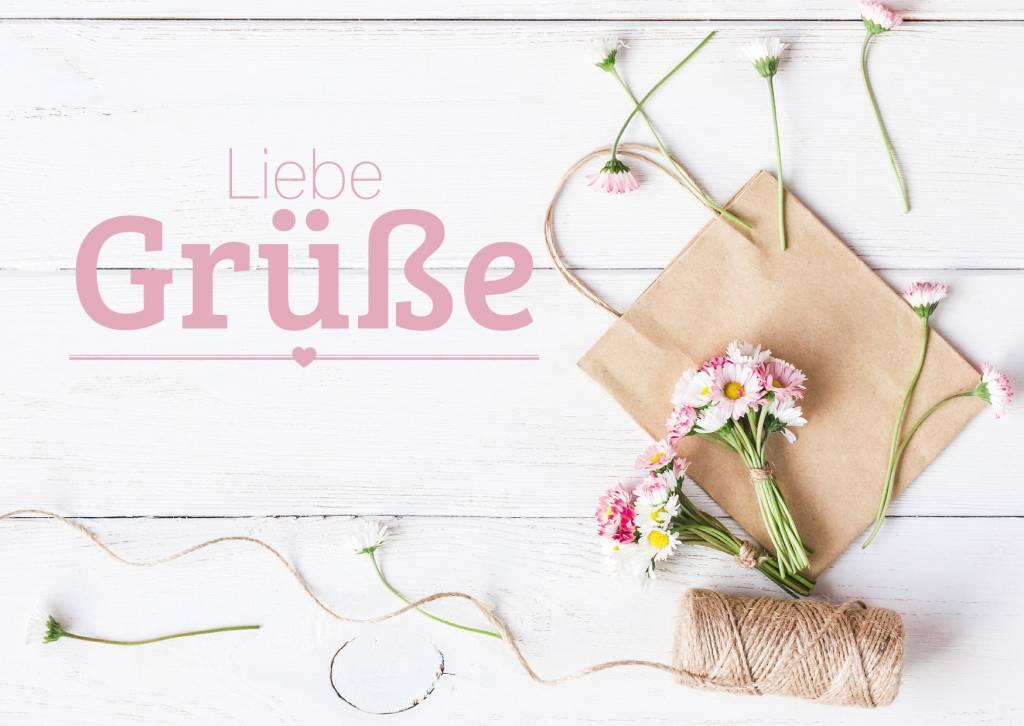 Grußkarte Liebe Grüße - Bezahlbare-Blumen.de