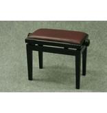 Baumgärtel Klavierbank BKB 11, zerlegt, Holzfarbe schwarz hochglänzend, Skai purpur-rot