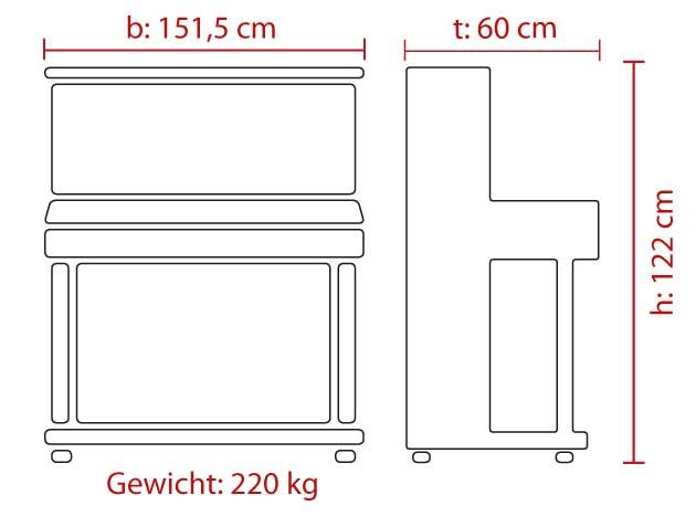 FEURICH Mod. 122 - Universal - Walnuss poliert/Messing