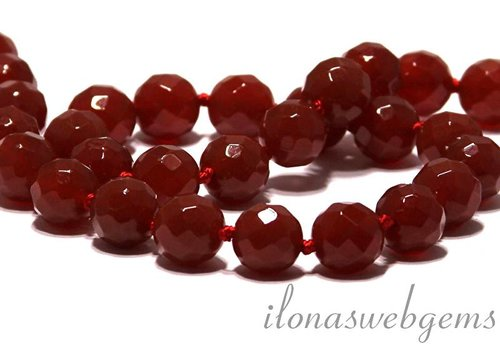 Carnelian - Red Agate beads faceted app. 12mm