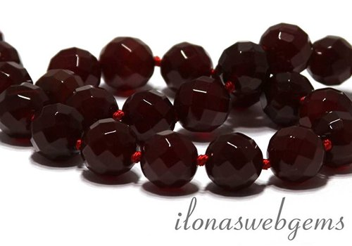 Carnelian - Red Agate beads faceted app. 14mm