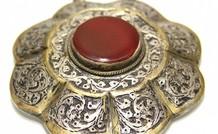 Afghaans zilveren hanger met Kornalijn