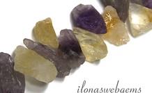Amethyst und Citrin grobe Perlen um 25-30x16mm