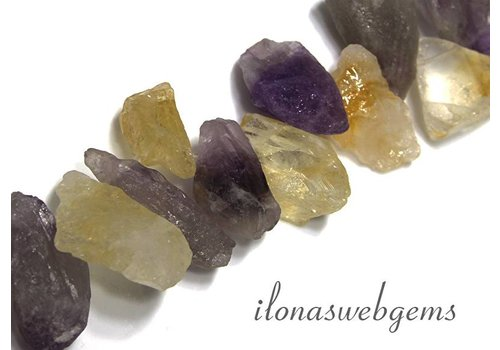 Amethyst en Citrien rough kralen ca. 25-30x16mm